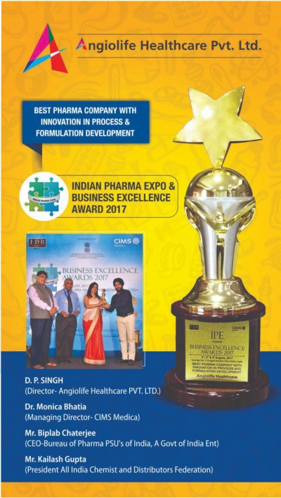 ANGIOLIFE HEALTHCARE PVT.LTD. IS WHO GMP ISO CERTIFIED AND ANGIOLIFE HEALTHCARE AWARDED WITH INNOVATION IN PROCESS & FORMULATION DEVELOPMENT 2017