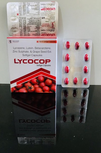 LYCOPENE, LUTEIN, BETACAROTENE, ZINC SULPHATE & GRAPE SEED EXT. SOFTGEL CAPSULES