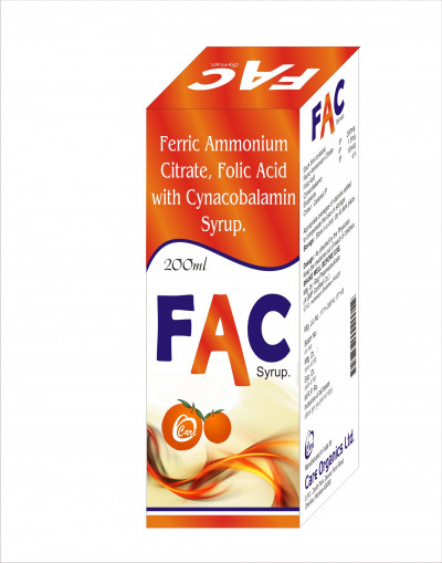 Ferric Amonium Citrate 200mg + Folic Acid 1.5mg + Cynacobalmin 10mcg Syp