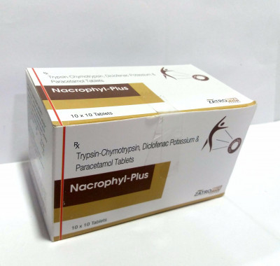 Trypsin-Chymotrypsin 50,000 Armour Units+Diclofenac   n Potassium 50mg+Paracetamol 325 mg Tablet
