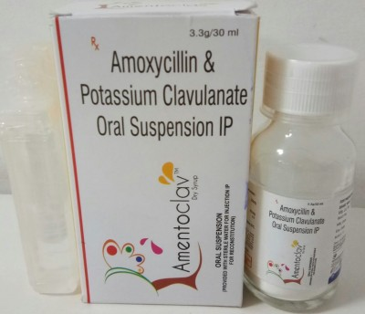 Ammoxycillin & Potassium Clavulanate Oral suspension with water in glass bottle