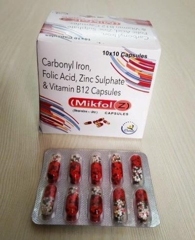 CARBONYL IRON + FOLIC ACID + ZINC SULPHATE & VITAMIN B12 CAPS.