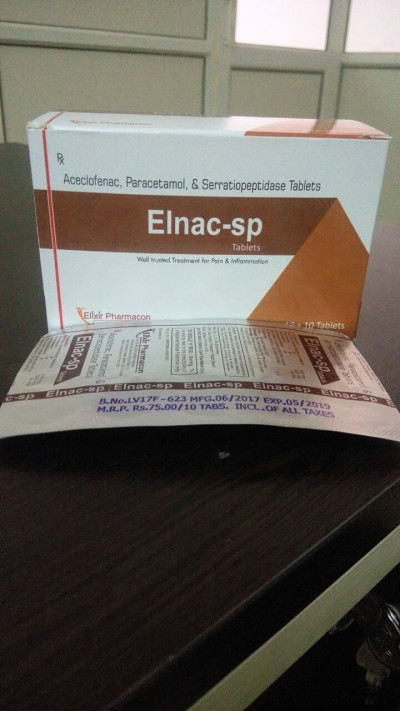 Aceclofenac 100mg+PCM 325mg+ Serratiopeptidase15mg