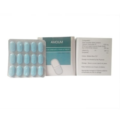 CALCIUM CARBONATE 1250 MG+ VIT D3 250 I.U. (SPECIAL PACKING WITH SILVER METALLIC PVC) Tablets