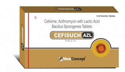 Cefixime 200 mg. + Azithromycin 250 mg.+ LACTIC ACID BACILLUS SPOROGENES 60 MILLION SPORES