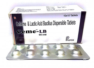 Cefixime 200mg. + Lactic Bacillus 60 million spores.