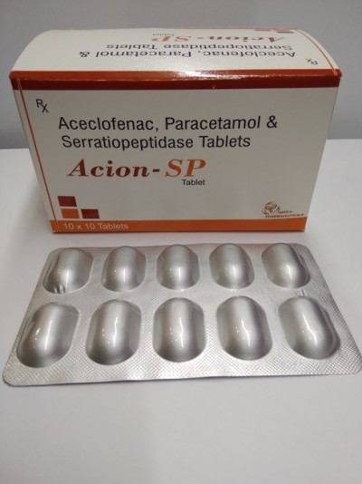 Aceclofenac 100mg+ Paracetamol 325mg+ Serratiopeptidase 15mg