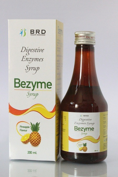 """Digestive enzymes Syrup Each 15 ml contains: Fungal Diastase (1:1200) 50mg. Pepsin (1:3000) 10mg."""
