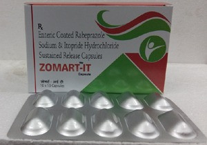 Rabeprazole sodium 20mg (as enteric coated pellets )+ itopride hcl 150mg (as sustained release pellets)