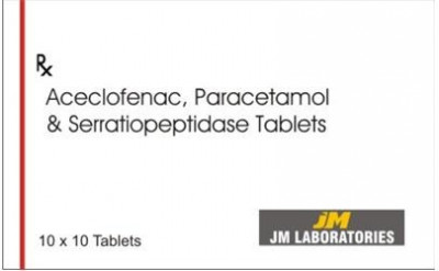 Aceclofenac-100mg + Paracetamol-325mg + Serratiopeptidase-10mg