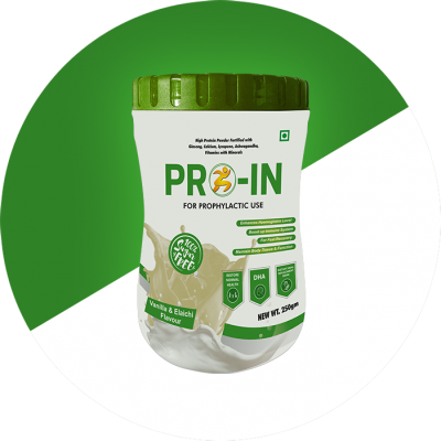 HIGH PROTEIN POWDER 65 GM. IN EACH 100 GM. FORTIFIED WITH GINSENG , CALCIUM , LYCOPENE , ASHWAGANDHA , VITAMINS WITH MINERALS . AVAILABLE IN DELICIOUS VANILLA ELAICHI FLAVOUR WITH SUGAR FREE IN 250 GM HDPE BOX.