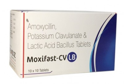 AMOXYCILLIN TRIHYDRATE 500MG+POTASSIUM CLAVUANATEDILUTED IP 125MG + LACTIC ACID BACILLUS 60 MILLION SPORES
