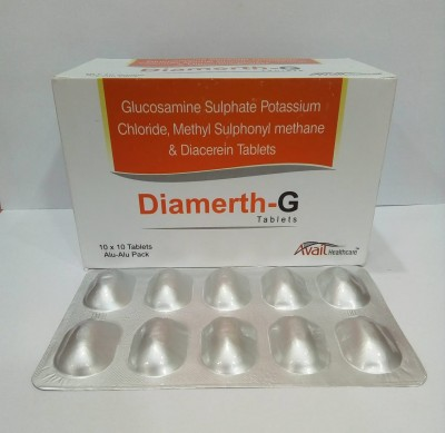 GLUCOSAMINE SULPHATE POTASSIUM CHLORIDE, METHYL SULPHONL METHANE & DIACEREIN TABLETS