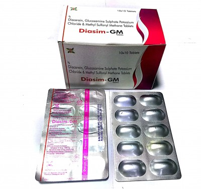 Diacerein 50 Mg + Glucosamine Sulphate 750 Mg + Methyl Sulfonyl Methane 250 Mg.