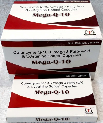 Co-enzyme-Q-10 100mg+Omega-3 Fatty acids 500mg+L-Arginine 100mg
