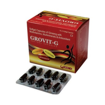 Softgel capsules of ginseng with vitamins minerals & antioxidant
