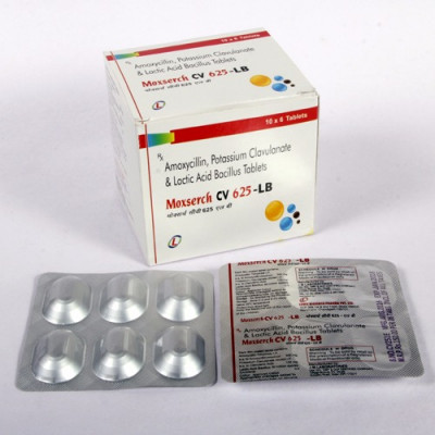 Manufacturer of Amoxicillin 500mg + potassium clavulanate 125mg with lactic acid bacillus